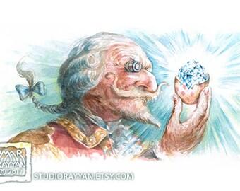 Baron with Diamond - extraordinary adventures of Baron Munchausen watercolor illustration