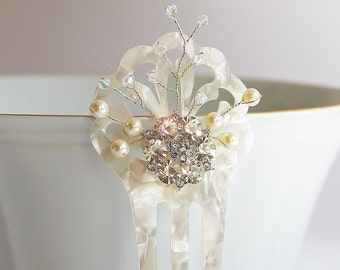 Pearl Hair Comb, Bridal hair comb, Mother of Pearl hair comb, Art Deco Hair Comb, Art Nouveau, Bridal Hair Accessories, Winter Wedding