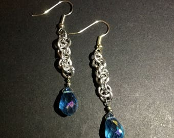 Chainmail Blue Teardrop Earrings