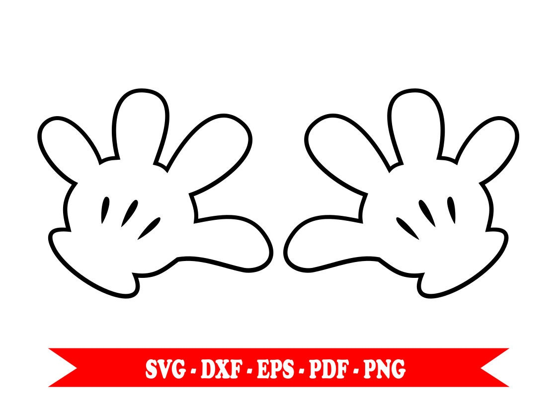 Mickey Mouse Para Imprimir De Manos Manos De Mickey Para: Hands Of Mickey Mouse Svg Disney Clip Art Download In SVG