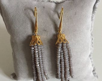 TASSEL EARRINGS taupe color - Crystal tassels earrings