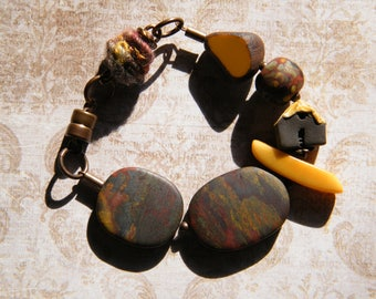 Cozy Little Cottage, Chunky Ceramic House Bracelet with Tiger Iron, Tagua Nut, Wooly Wire,  Fall Bracelet, Fall Jewelry