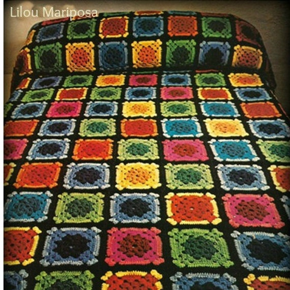 Crochet BEDSPREAD Pattern Vintage 70s Crochet Granny Square