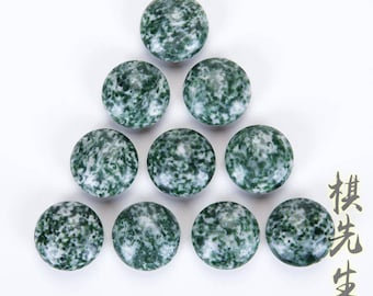 Moss Jasper go game stone beads Double sides convex round beads free shipping 185pcs