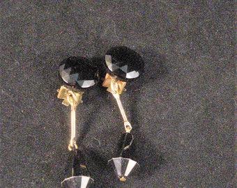Vintage Clip Dangle Earrings Faceted Black Pear Drop