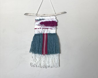 Fuchsia and Dusty Teal Woven Wall Hanging\ Nursery Decor