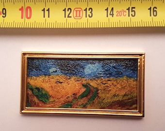 Van Gogh framed painting Wheat Field with Crows - for 1:12 dollhouse