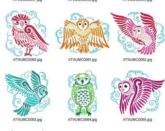 Delicate-Owls ( 10 Machine Embroidery Designs from ATW )