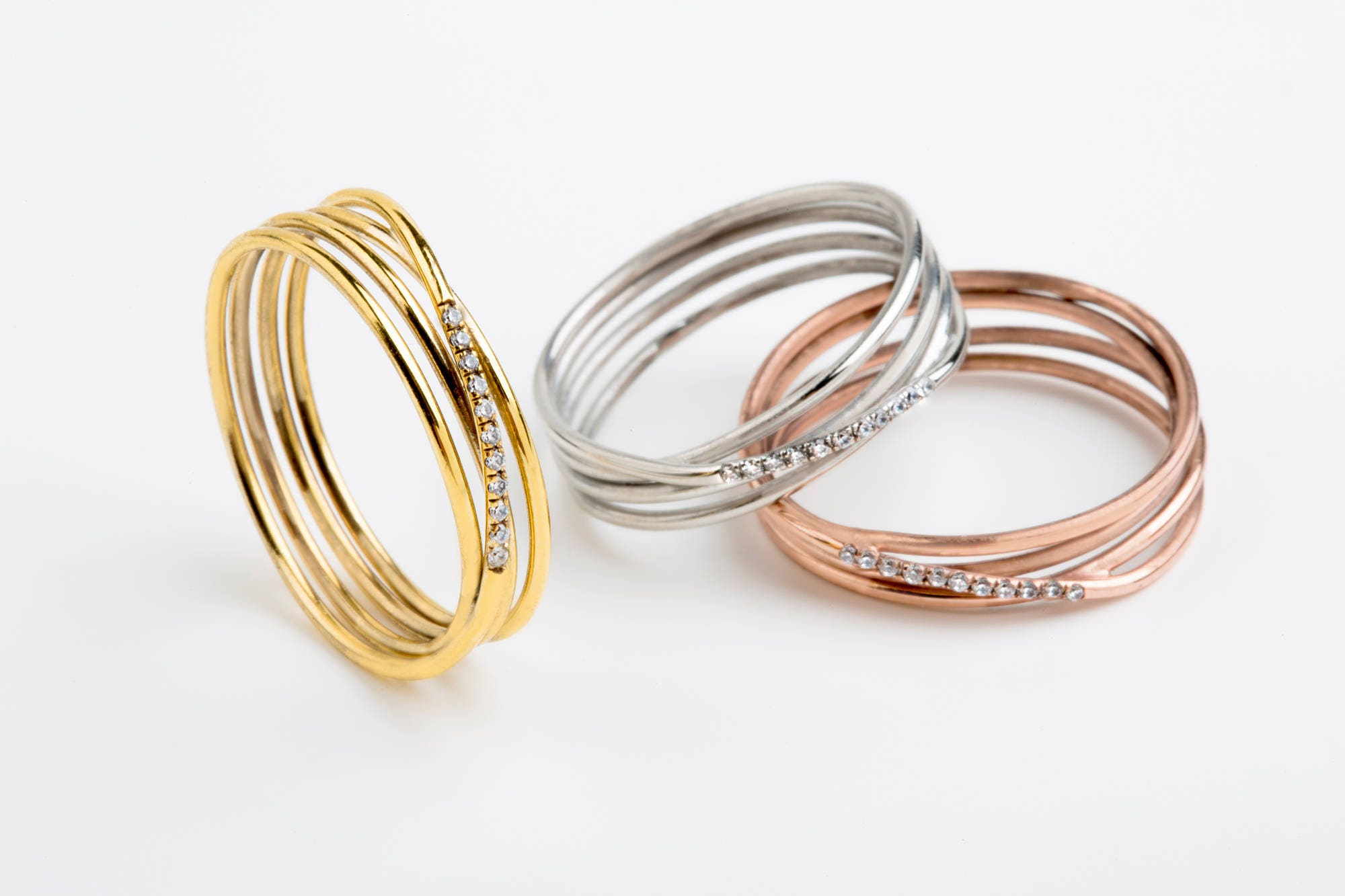 Diamant Drahtring Diamant-Ring Twisted Drahtring Skinny