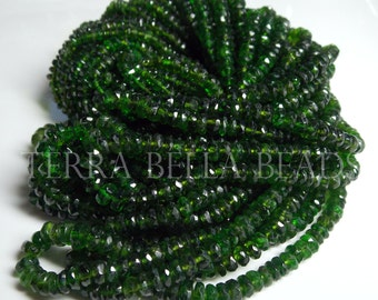 "7"" half strand rare CHROME DIOPSIDE faceted gemstone rondelle beads 3mm - 4mm green"