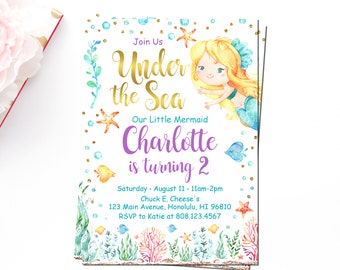 Mermaid Birthday Invitation, Under The Sea, Pool Party Invitation, Purple Teal Watercolor, Custom Invitation Printable File, A75