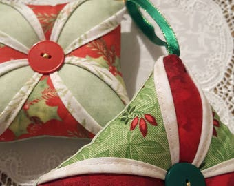 Pretty Christmas Ornaments, Fabric Christmas Ornaments, Cathedral Window Christmas Ornaments, Sewn Christmas Ornaments