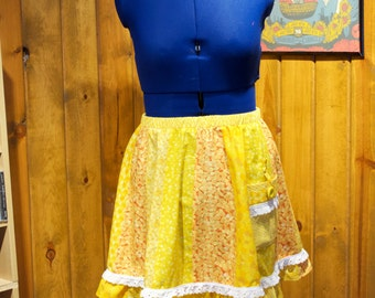 sunshine yellows knee-length patchwork festival skirt - large / x-large