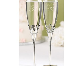 Personalized Wedding Flutes Champagne King and Queen Toasting Glasses Ceremony Engraved