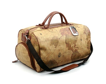 World Map Bag Mens Duffle Bag Womens Travel Shoulder Bag Crownj B