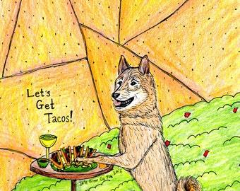 Let's Get Tacos Shiba Inu Guacamole Print