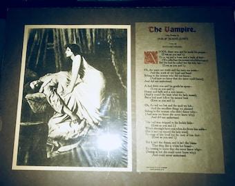The Vampire (poem) presented in vintage presentation with earliest known erotica