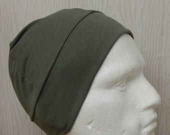 Khaki chemo hat for man, men's stretchy cancer cap, chemotherapy head wear, alopecia hair loss hats, sleeping cap