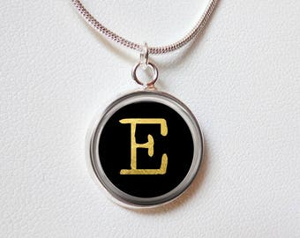 Typewriter Key Charm necklace - Gift for Journalist Writer -Letter Numbers Personalized Initial silver black