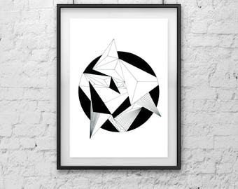 Geometric Circle Art,  Monochromatic,  Black and White Art, Wall Decor, Instant Download