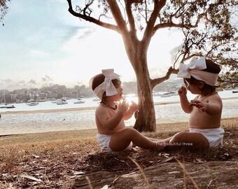 Boho white neutral headwrap topknot baby headband, baby topknot, knotted headband, baby headband, baby headband,
