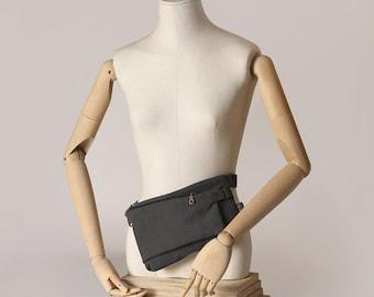 Frankfurt fanny pack, mini bag. Dual purpose. Two departments. Dark Gray fabric