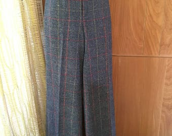 Vintage 70s Plaid Bell Bottoms by Happy Legs High Waist and Huge Flairs