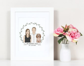 Custom Portrait, Couple portrait, Paper Anniversary Gift, Family Portrait, Custom Pet Portrait Dog Cat, Anniversary Gift
