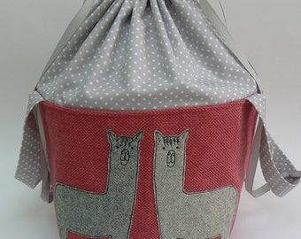 Tweedy Alpaca applique large drawstring project bag, large knitting bag