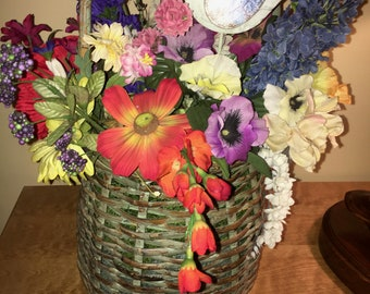 Country Basket with Summer Floral Arrangement and Decorative Bird