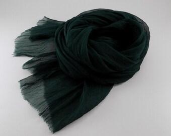 Handmade Silk Scarf / Wrinkle Scarf / Crinkle Scarf --- Emerald