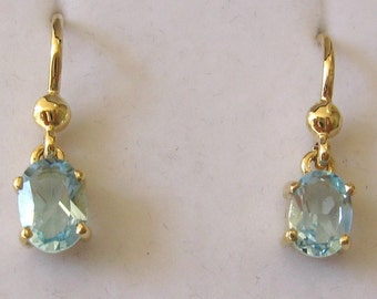 Genuine SOLID 9K 9ct YELLOW GOLD March Birthstone Aquamarine Earrings