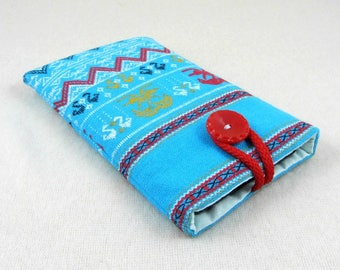 Cell phone case, iphone cover, smartphone sleeve, blue and red, padded phone case, iphone case, cell phone purse, phone accessories