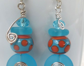 Blue Sea Glass and Crystal earrings