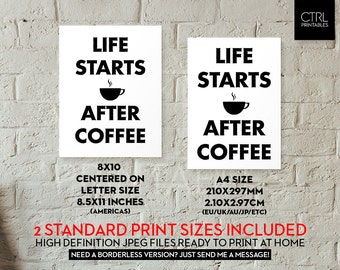 Life Starts After Coffee Cafe Printable Coffee Lover Wall Art Dorm Decor Printable Gift Student Office Home Apartment Coffee Cup