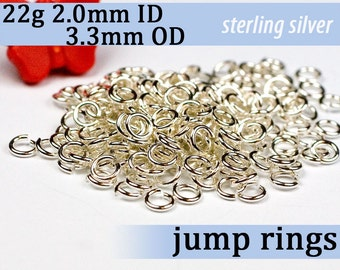 22g 2.0mm ID 3.3mm OD sterling silver 925 jump rings -- open jumprings