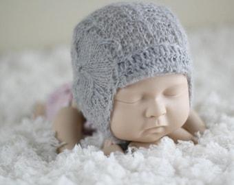 Mohair Newborn Bonnet, Photo Prop Bonnet, Ready To Ship Bonnet, Dark Lavender Bonnet, Baby Boy bonnet