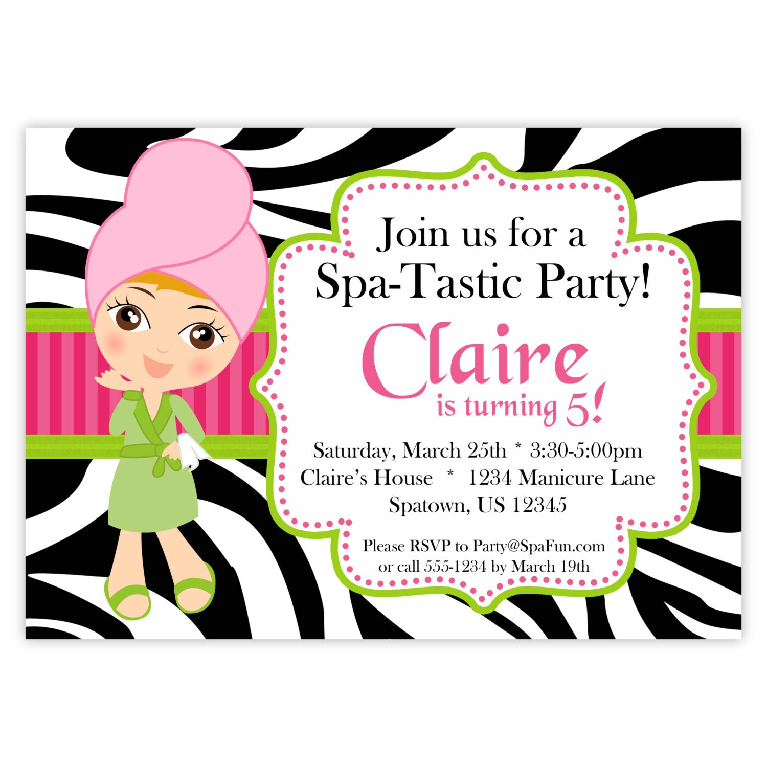 Spa Party Invitation Lime Hot Pink and Zebra Print Cute