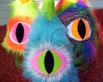 Cyclops Monster People Eater Big Eyeball Adult Costume Party Hat Furry One Horn Eye Fur Neon Rainbow Turquoise Halloween Costume Fur Hat