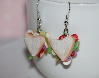 Sandwich Earrings - Heart Shaped Sandwich Earrings -  Valentine Sandwich Earrings - Miniature Food Jewelry - Valentine Kawaii earrings