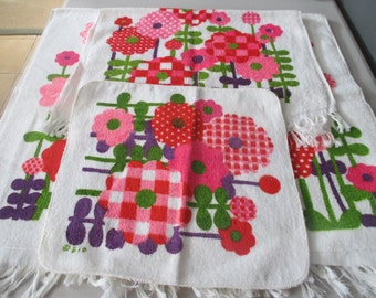 Vintage Barth And Dreyfuss Royal Terry 3 Piece Set Cotton Terry Towels Retro