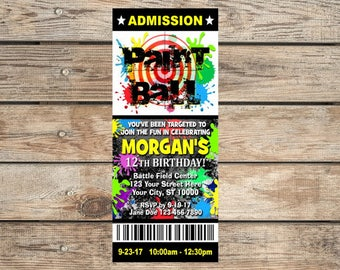 Paintball Party Invitation, Custom Paint Ball Birthday Party Ticket Invites, Digital Or Printed