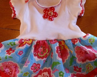 Red Floral Onesie Dress  - 6-9 months