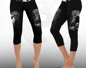 YIN YANG Sacred Geometry Leggings Printed Leggings Festival Leggings Pixie Leggings Psytrance Psychedelic Clothing Festival Clothing