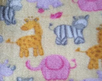Zoo Animals on Yellow Fleece Fabric (28 inches)