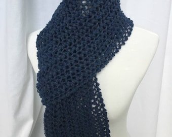 Handmade Knit Scarf With Fringe-Blue (Lace Whispers)