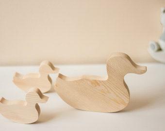 Set Of Three Wooden Duck Ornaments
