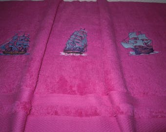 embroidered Terry cotton bath towel