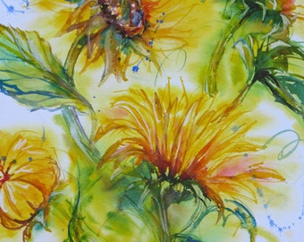 abstract sunflower watercolor painting, impressionism flower art, sunflower art, sunflower watercolor art, wall decor, Janice Trane Jones