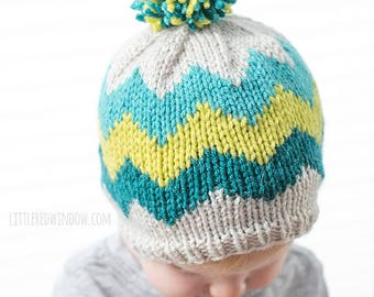 Baby Chevron Hat KNITTING PATTERN / Knit Chevron Pattern / Chevron Hat Pattern / Baby Chevron Pattern / Colorful Baby Hat / Modern Baby Hat